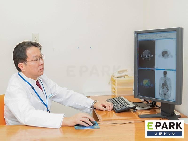 はじめて受診する方にはPET-CT検査の画像を示しながら当日に説明